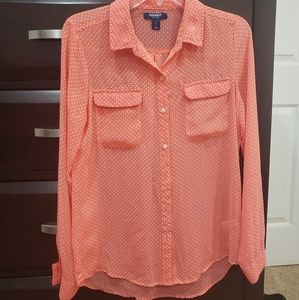 🆕️ Old Navy Sheer Button Up Coral Top